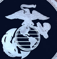 SEMPER FI MARINE LOGO ON GLASS